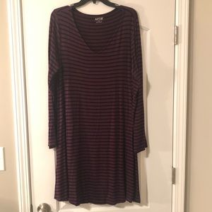 Black and purple striped T shirt dress long sleeve